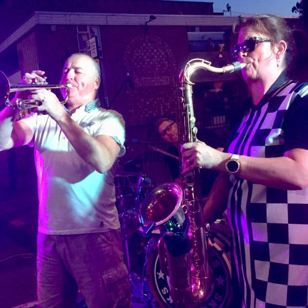 Deb and Pete, outdoors at the Rose and Crown, Warwick august 2019.